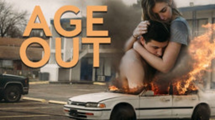 Picture of a boy and a girl with a car in flames