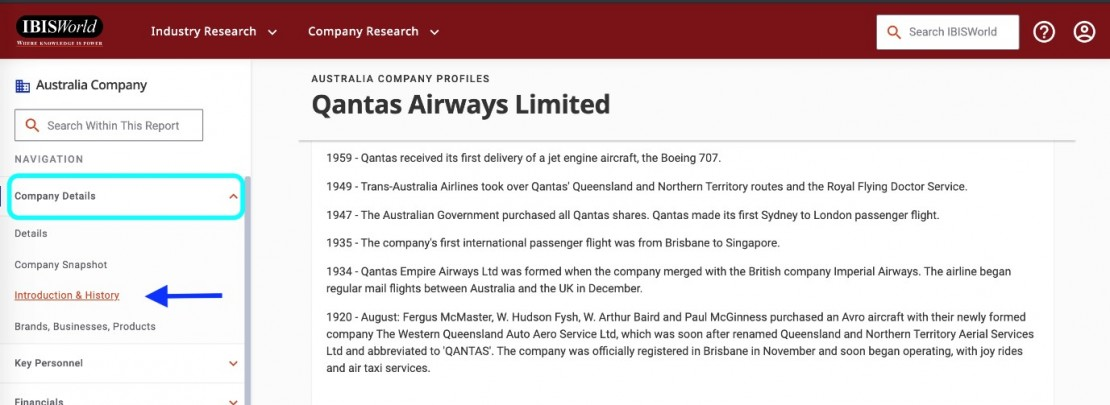 IBISWorld database search for Qantas Airways Limited