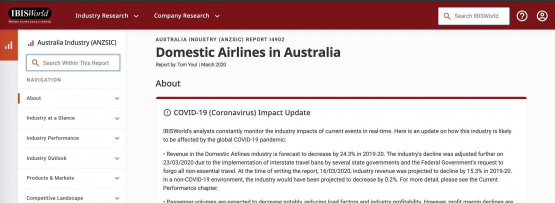 IBISWorld database search for Domestic Airlines in Australia