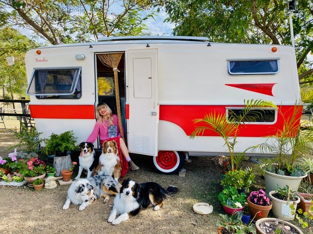 Author Holly Ringland sitting in the doorway of her red and white caravan Four dogs are sitting in front of her and there are many potted plants to either side of the caravan