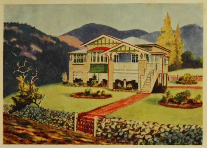 Coloured image of Queenslander house from booklet 99 everyday homes for Queenslanders