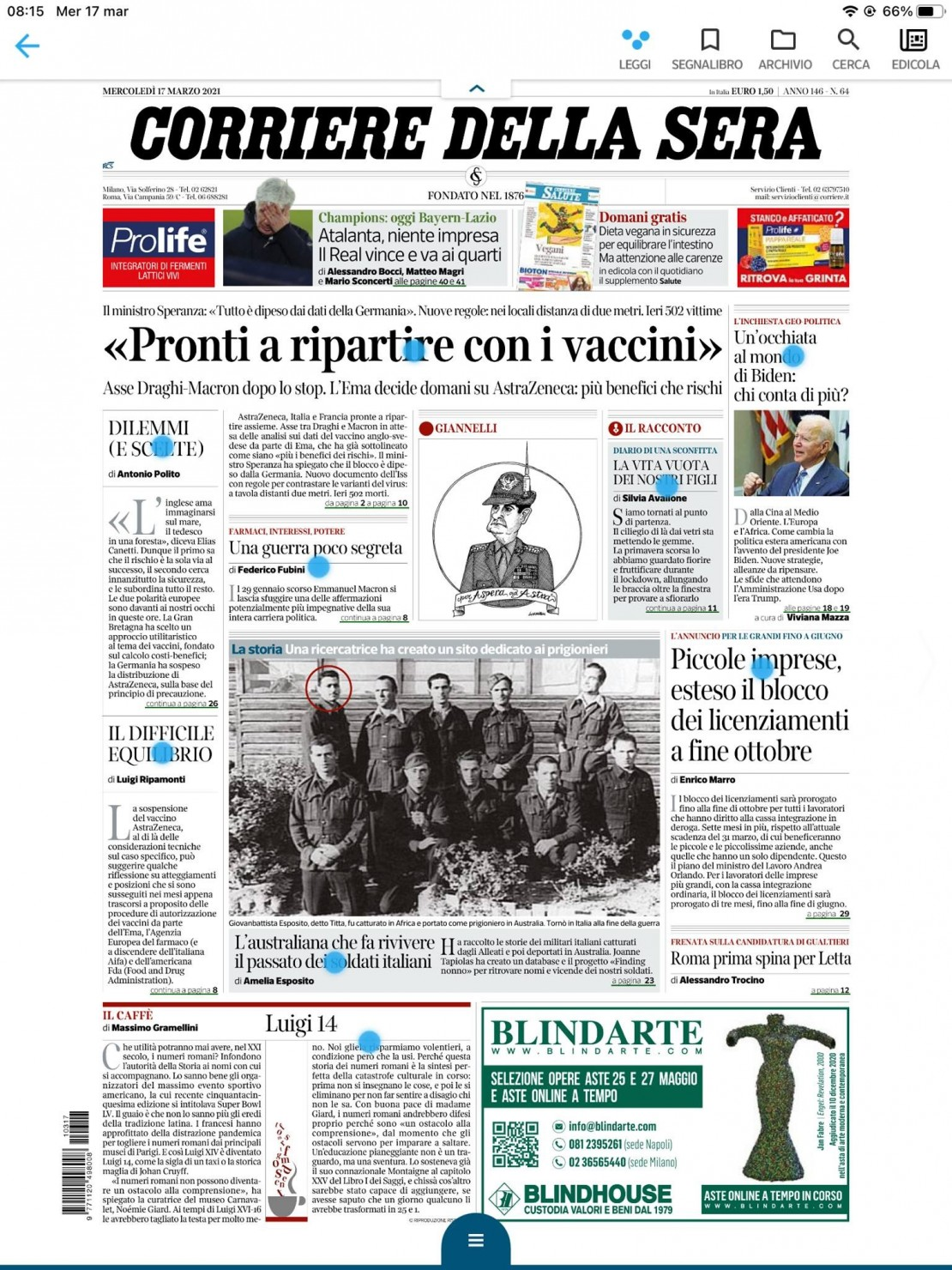 Italian newspaper article revealing the story of Joanne Tapiolas the Australian who finds Italian soldiers imprisoned in Australia article by Amelia Esposito journalist Source Corriere della Sera 17 March 2021