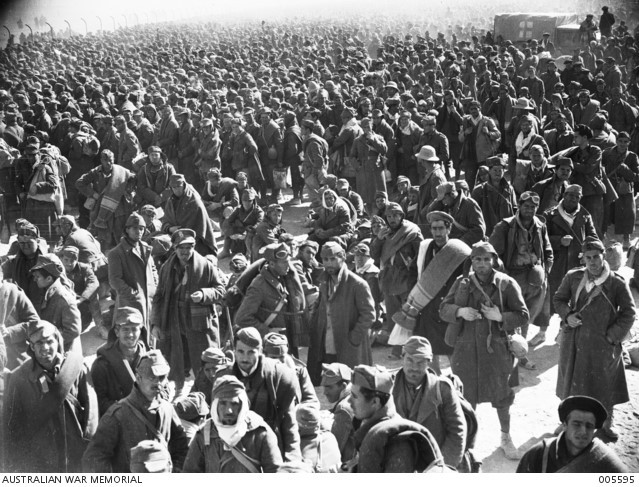 Taken on 23 January 1941 Italian prisoners captured following the allies advance at Tobruk