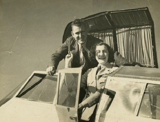 Ivy May Pearce and Ernest Hassard before taking off for the Brisbane to Adelaide air race1936  Photographer unknown  John Oxley Library SLQ  MMS ID 99288603402061