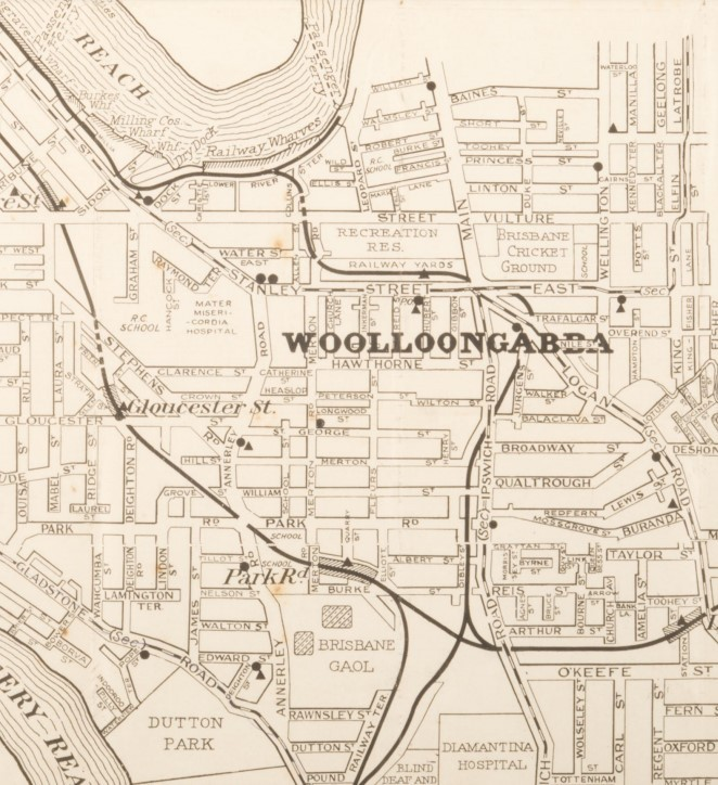 1916 street map or Wooloongabba showing railway lines