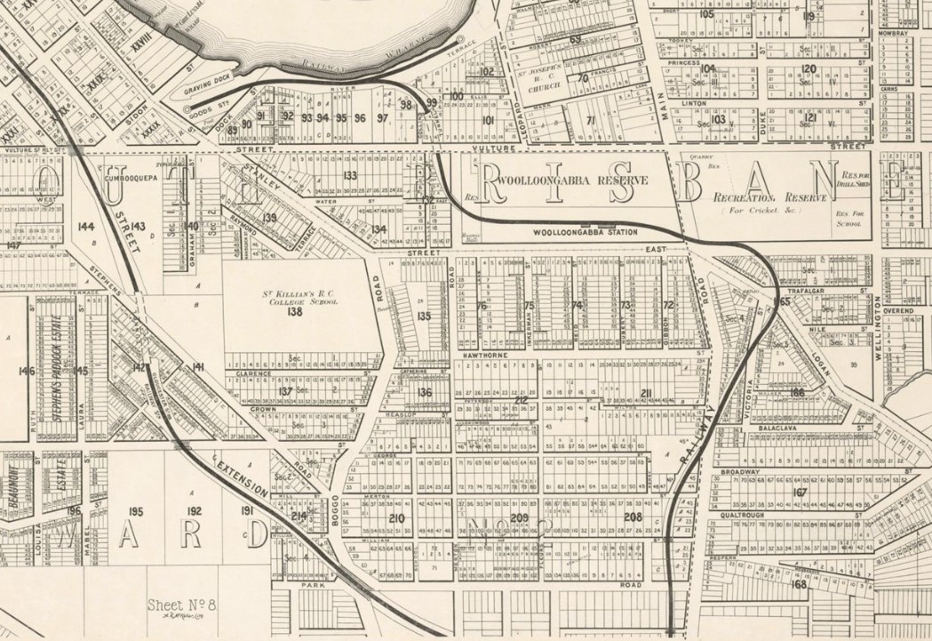 Map of Wooloongabba in 1895 showing railway lines and Wooloogabba Station