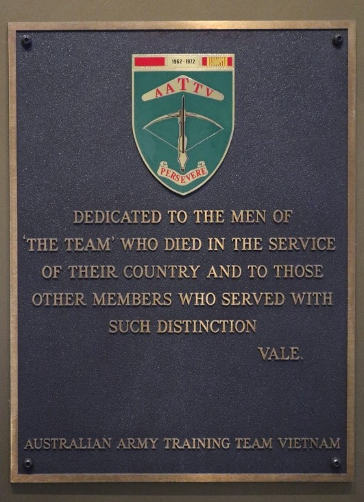 Memorial plaque for the AATTV at Anzac Square Memorial Galleries in Brisbane