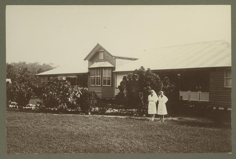 Matron Collins and Sister Gumley in the grounds of Palm Island Hospital