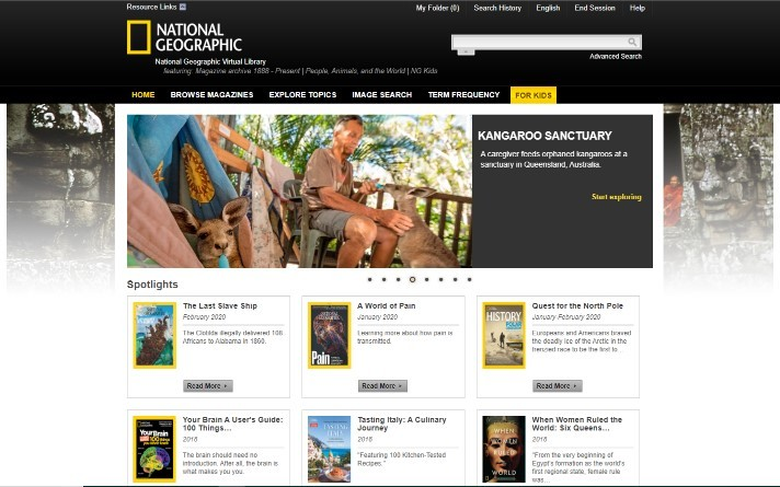 Image of National Geographic Virtual Library database home page
