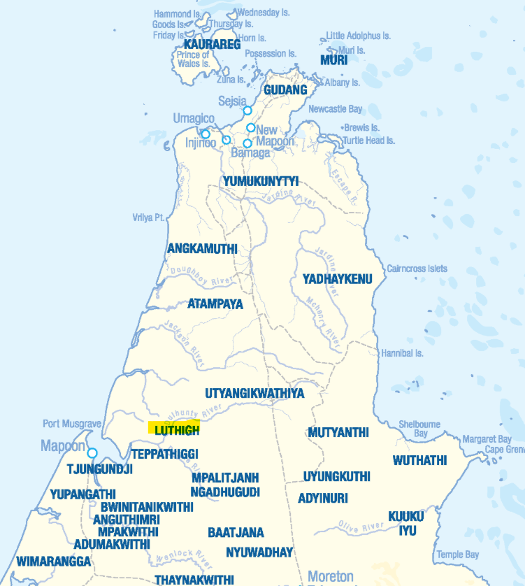 Pama Language Centre map showing location of Luthigh
