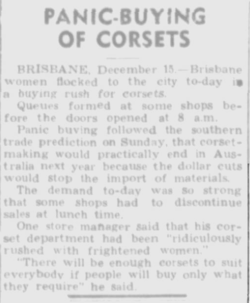 An article from Trove describing women panic buying corsets in Brisbane