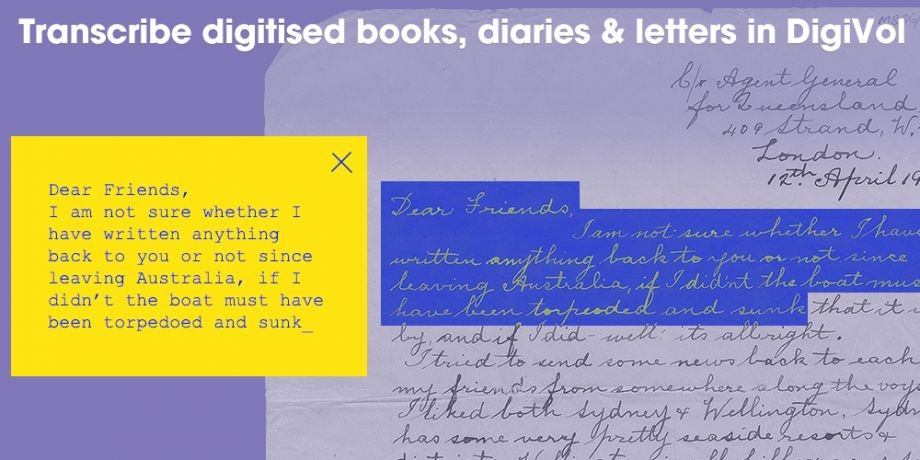 Pitch In Transcribe books, letters and diaries in DigiVol