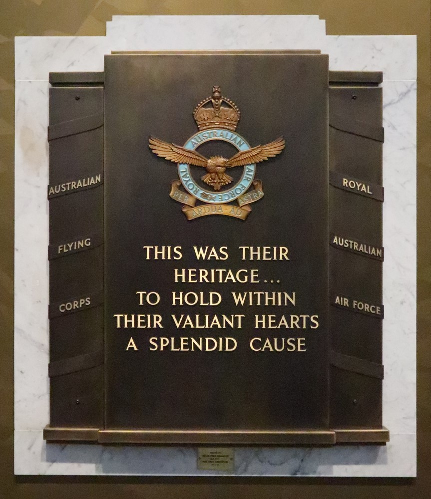 Image of a plaque on a marble wall from the Royal Australian Airforce