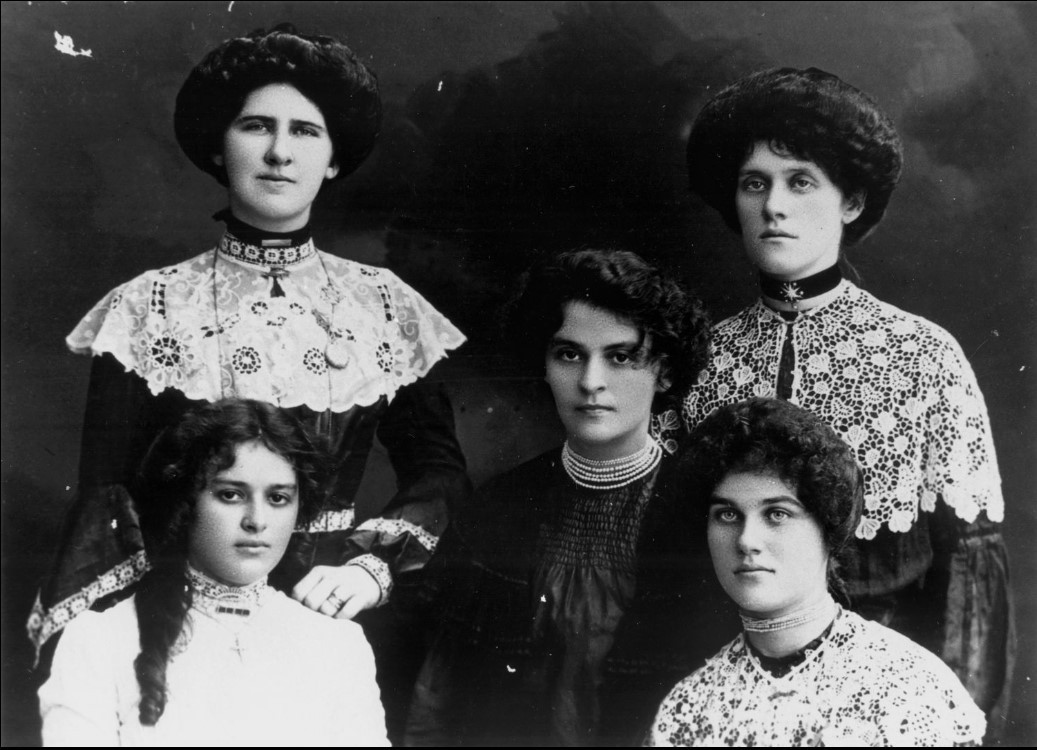 Portrait of five sisters from the Steindl family black and white undated