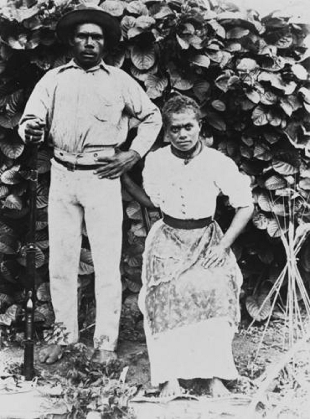 Portrait of two South Sea Islanders from the Pioneer Sugar Mill Brandon Queensland 1880s Photographer unknown John Oxley Library State Library of Queensland Negative no 9925