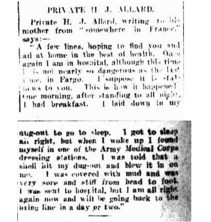 Article from Trove - Private H J Allard writing to his mother from somewhere in France