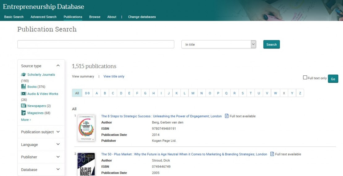 Image of Publication search screen from ProQuest Entrepeneurship database