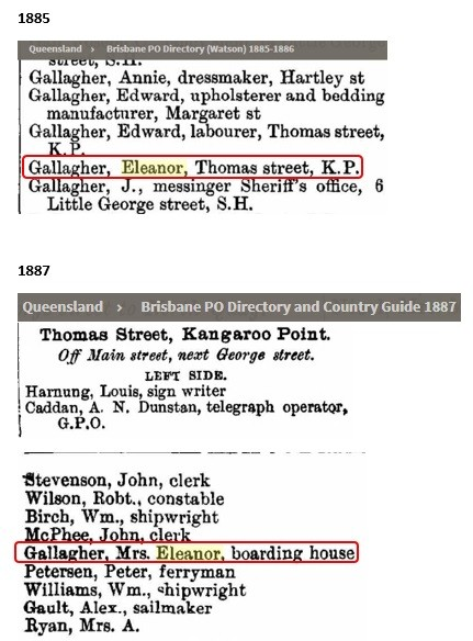 Entries for Eleanor GALLAGHER in the Queensland post office directories for 1885 and 1887