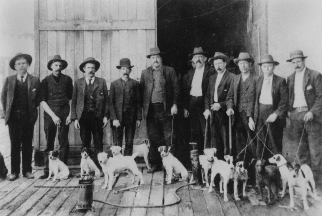 A line of men standing with their dogs outside large wooden doors