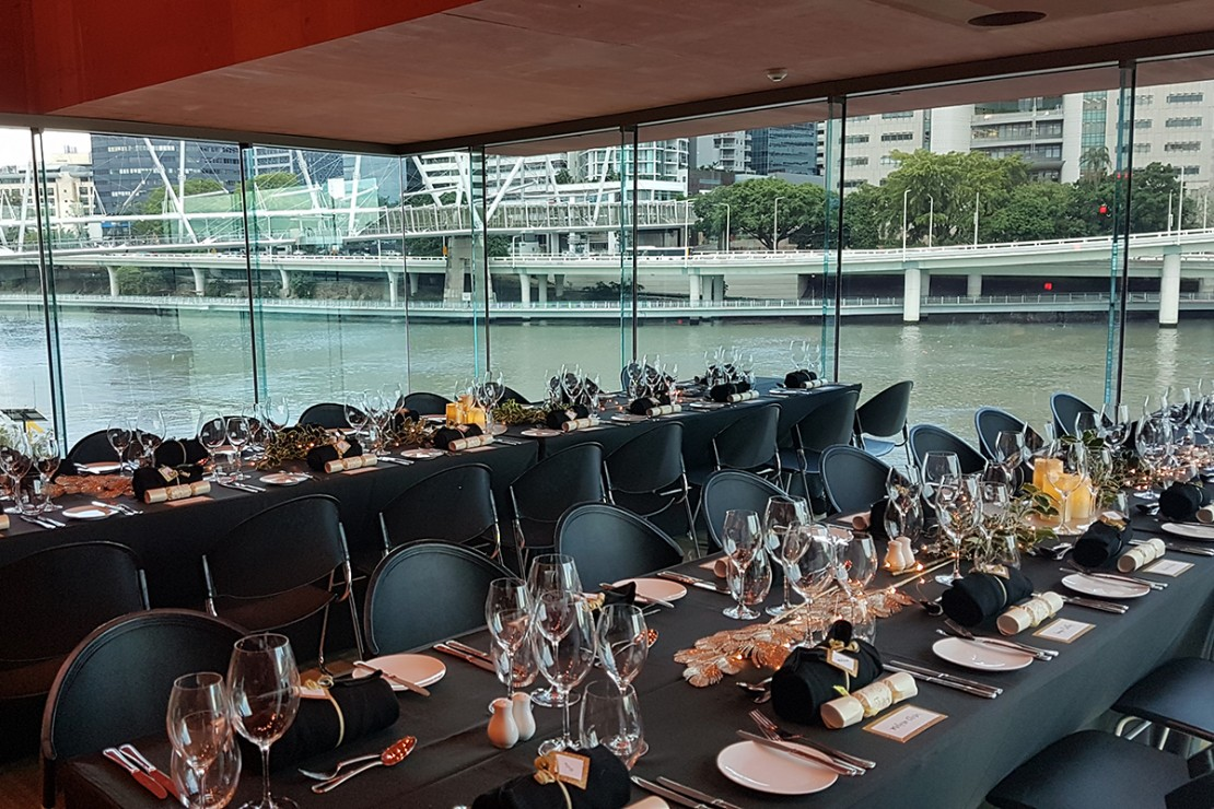 The Red Box set for a banquet overlooking the Brisbane River