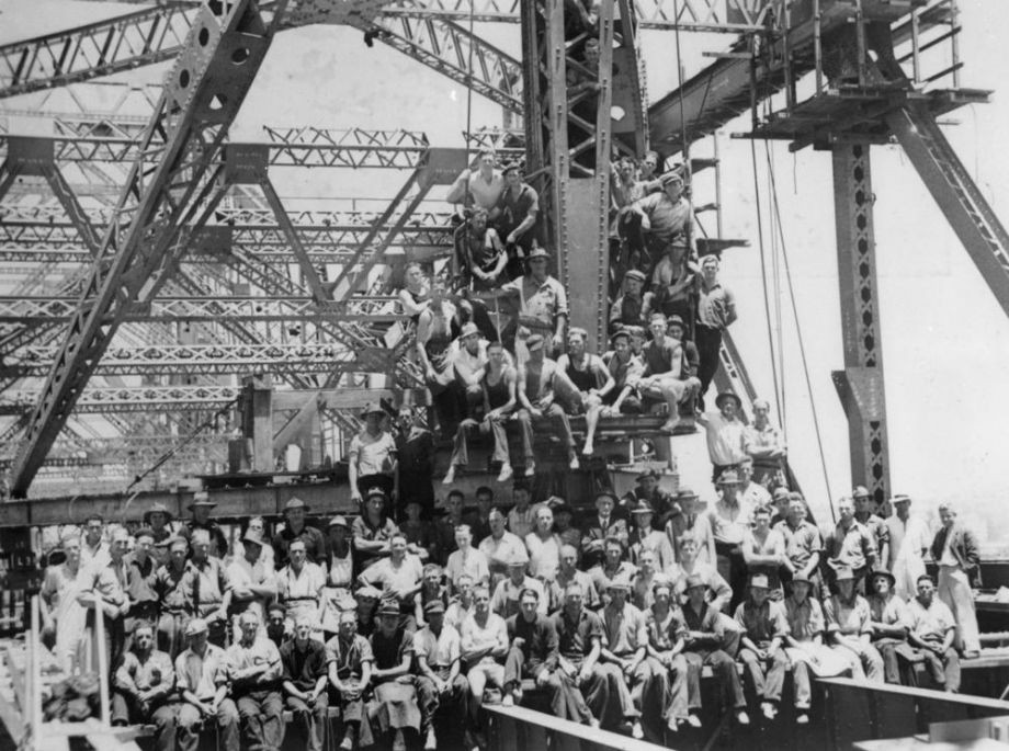 Construction crew on the Story Bridge during the last day of construction Brisbane 1939