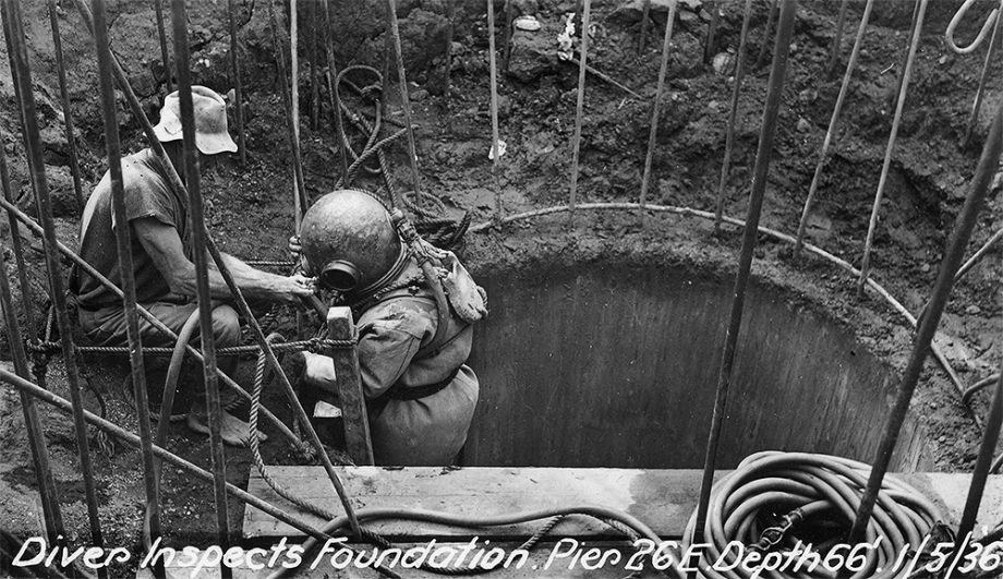 Diver inspects the foundation at Pier 26E Story Bridge Brisbane 1936