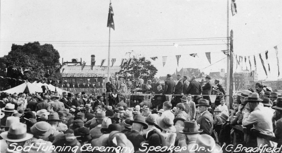 A large crowd watches the sod turning ceremony for the Story Bridge Brisbane 1935