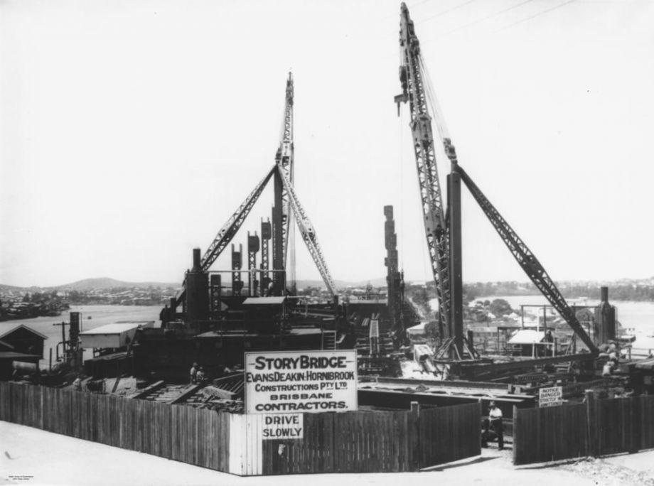 Story Bridge under construction Brisbane ca 1936