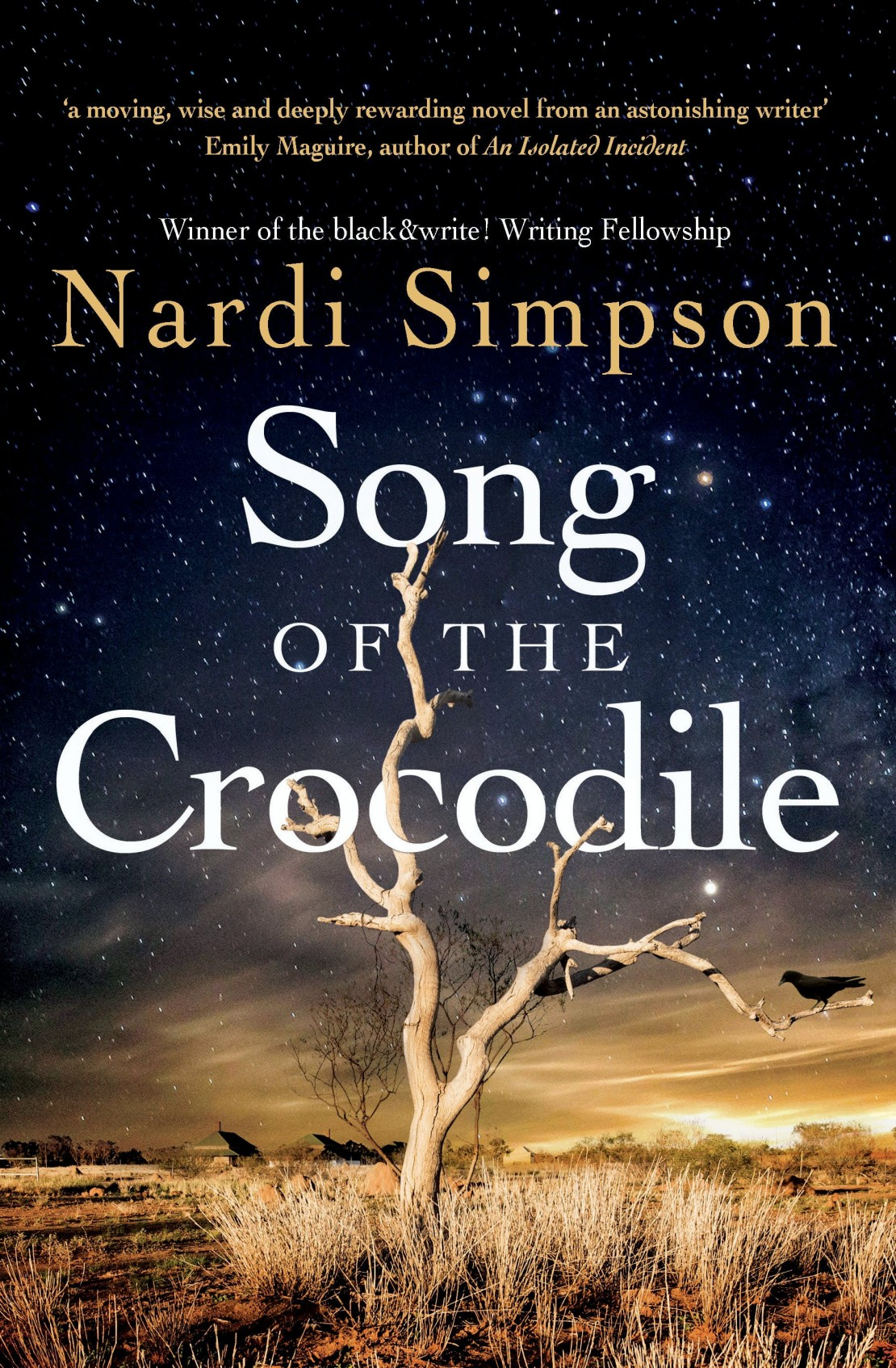 Book cover for Song of the Crocodile by Nardi Simpson Cover includes a dying tree and in the background a town with stars above in the nights sky