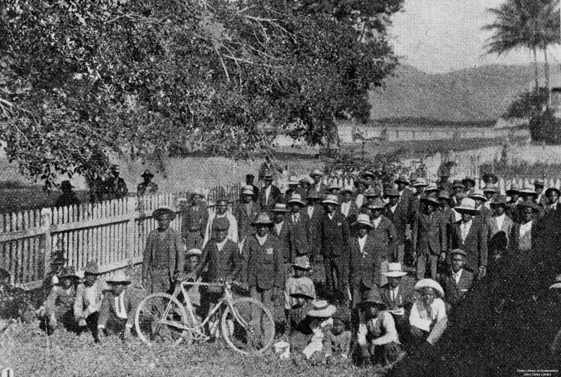 South Sea Islanders waiting for deportation Cairns 1906 Photographer unknown John Oxley Library State Library of Queensland Negative no 23842