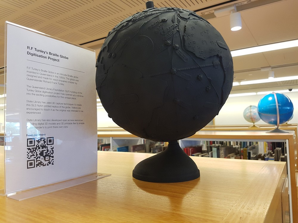 Tunley Braille globe on display in State Library of Queensland