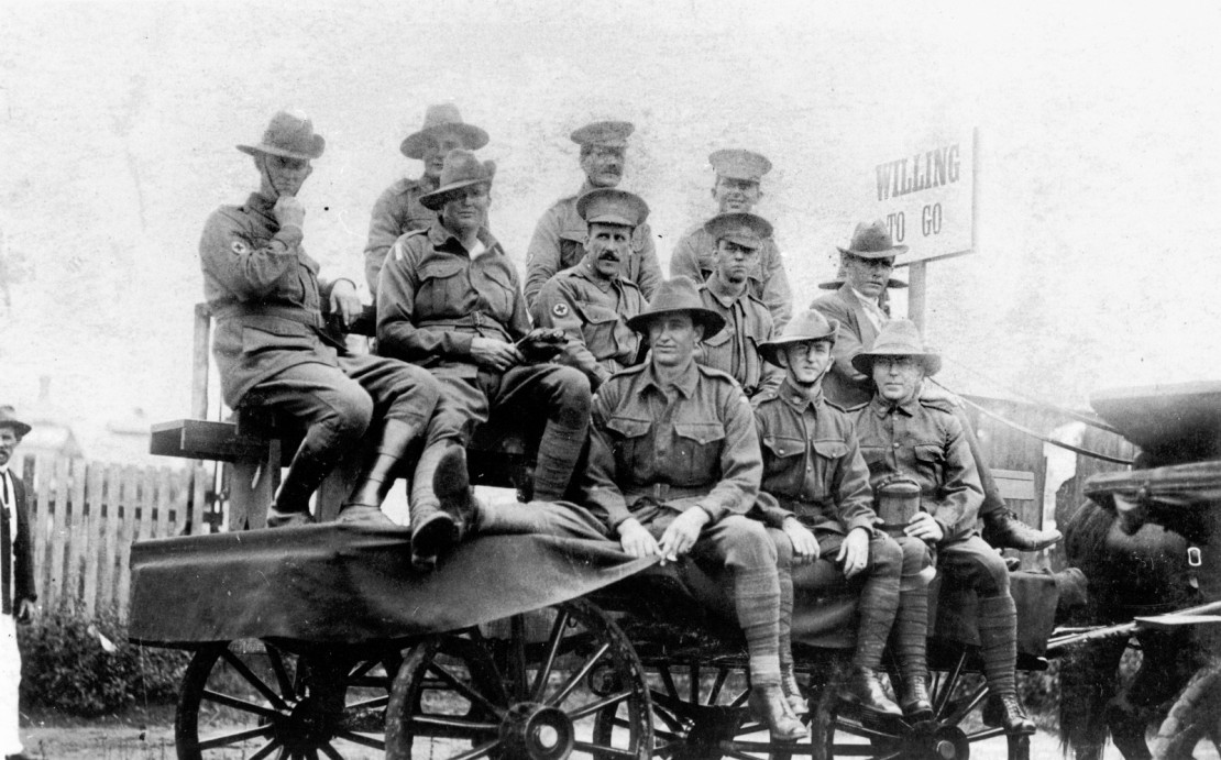 A group of soldiers on a cart