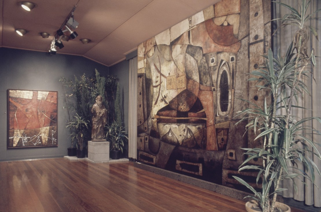 Interior of the Johnstone Gallery Bowen Hills Queensland ca 1969 showing an exhibition of Ignacio Marmol paintings
