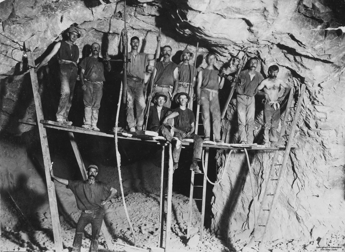 Miners working in a gold mine at Gympie