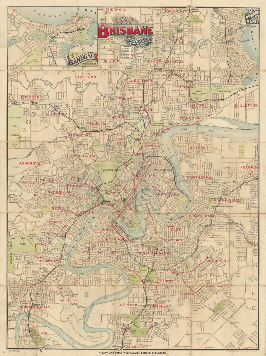 Map of Brisbane and suburbs 1918