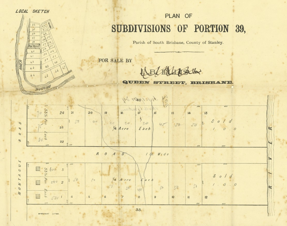 Plan of subdivisions of portion 39 parish of South Brisbane county of Stanley