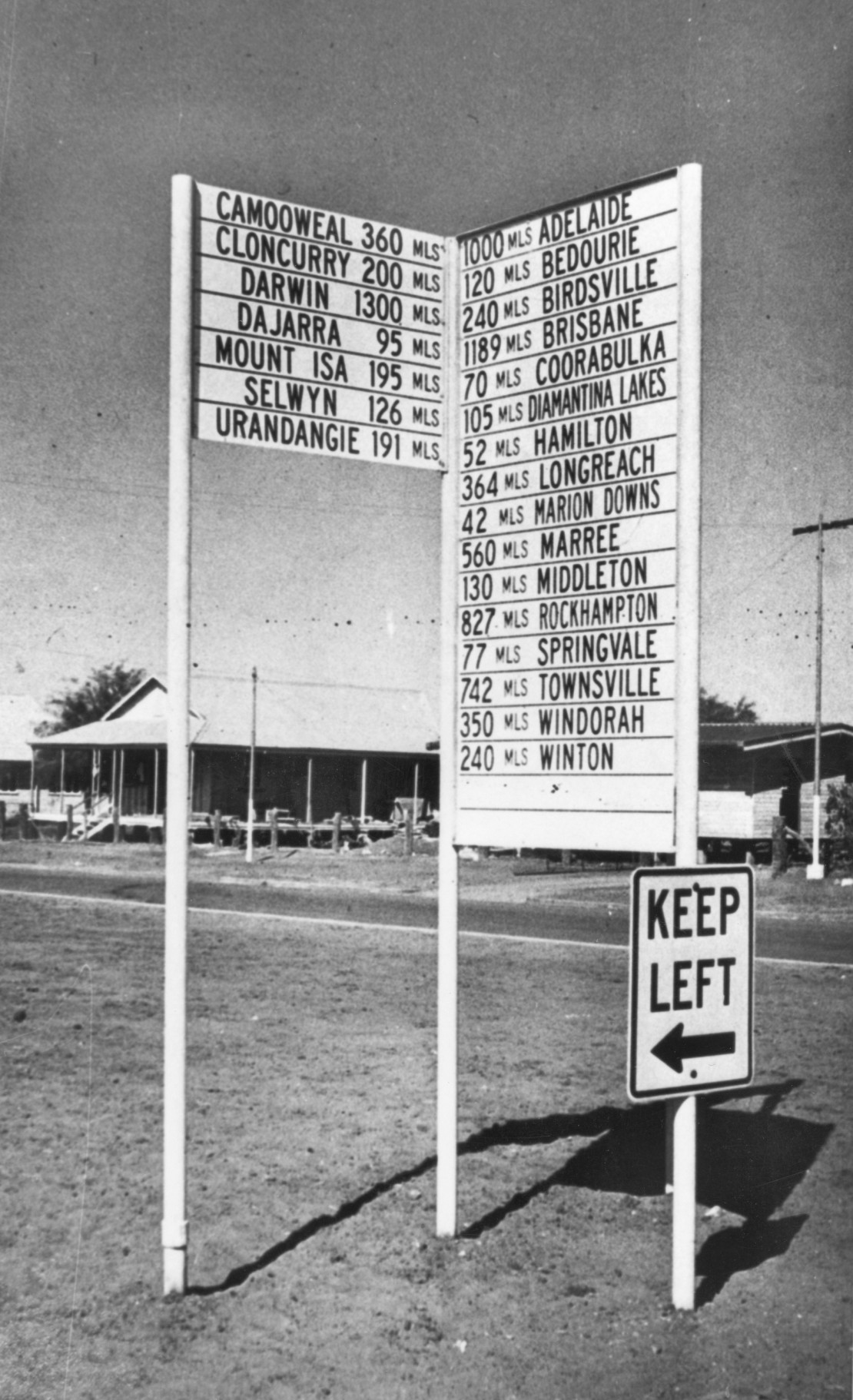 Road sign showing the distance to other locations from Boulia
