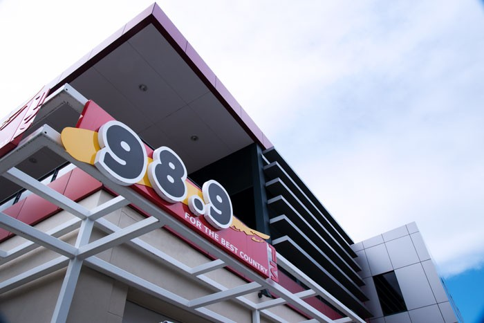 Exterior view of the 989FM building