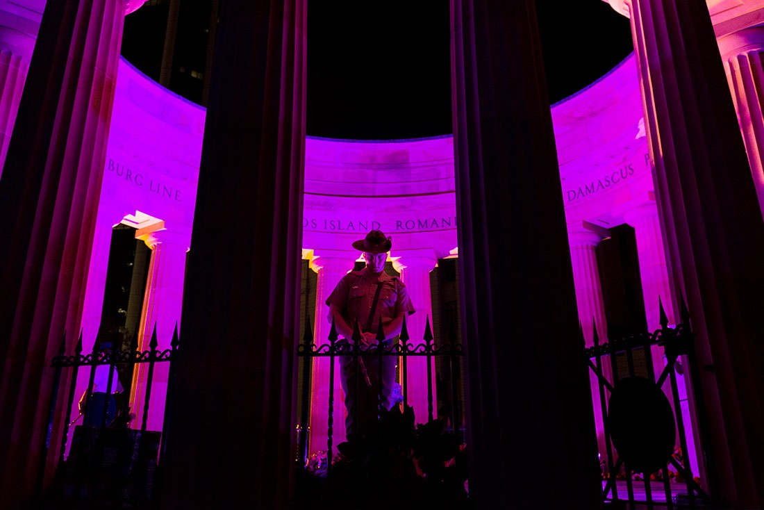 Shrine of Remembrance Bathed in Purple Light at the Anzac Dawn Service