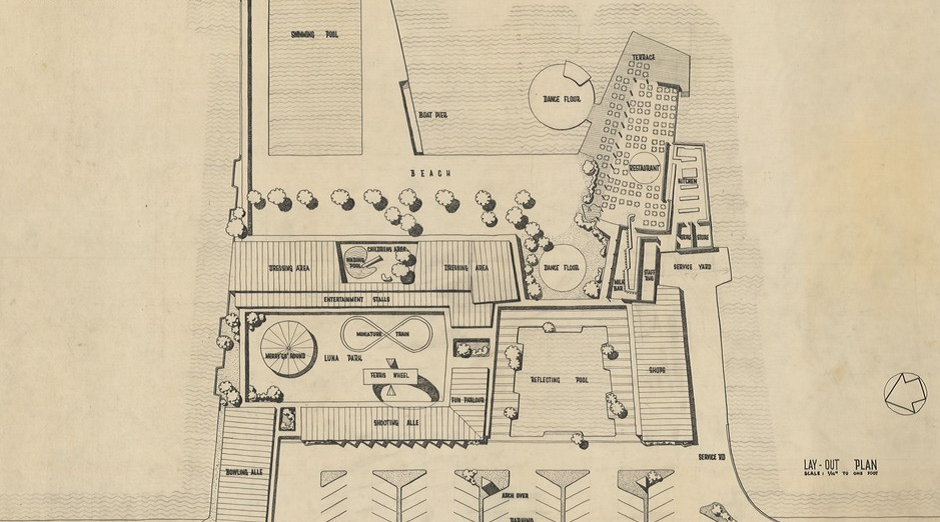 Architectural plans of Clontarf Pool by Karl Langer