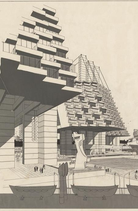 Drawing of buildings for World Expo 88 by James Maccormick