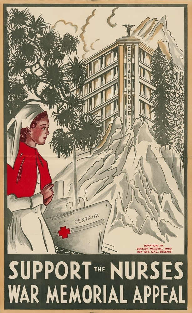 The poster depicts a nurse in the foreground with the hospital ship Centaur and Centaur House in the background