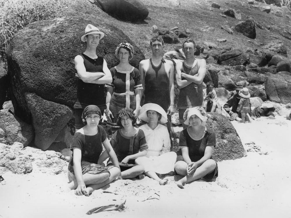 Bathers posing on a beach undated  Photographer unknown  John Oxley Library SLQ  Negative no 121364