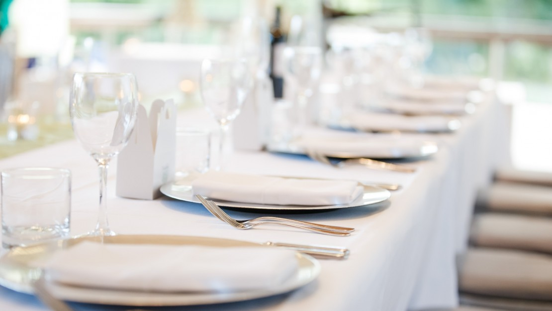 Close up of dining table set for an event