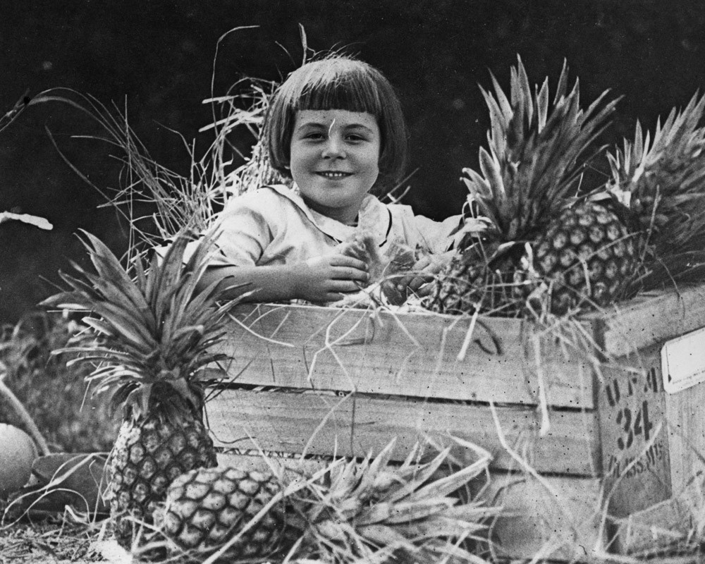 Girl sitting in a crate of Queensland pineapples 1924