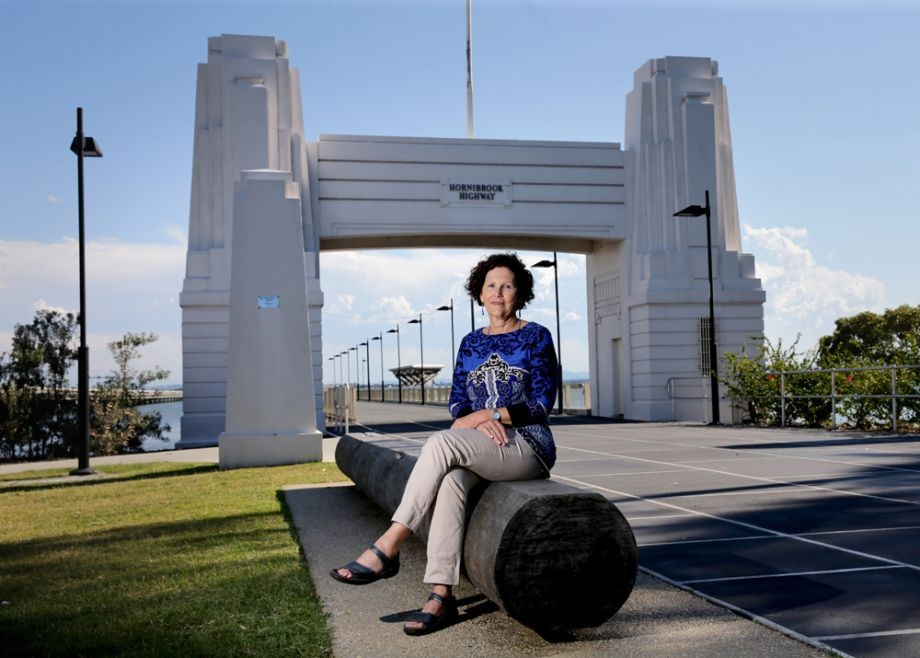 Thanks to the Moreton Bay Herald for image of Julie Hornibrook when she visited Redcliffe to give a talk to the Museum on the 80th anniversary of the Opening of the Hornibrook Highway This was taken on Clontarf pier with a hardwood girder salvaged from the Bridge in the foreground