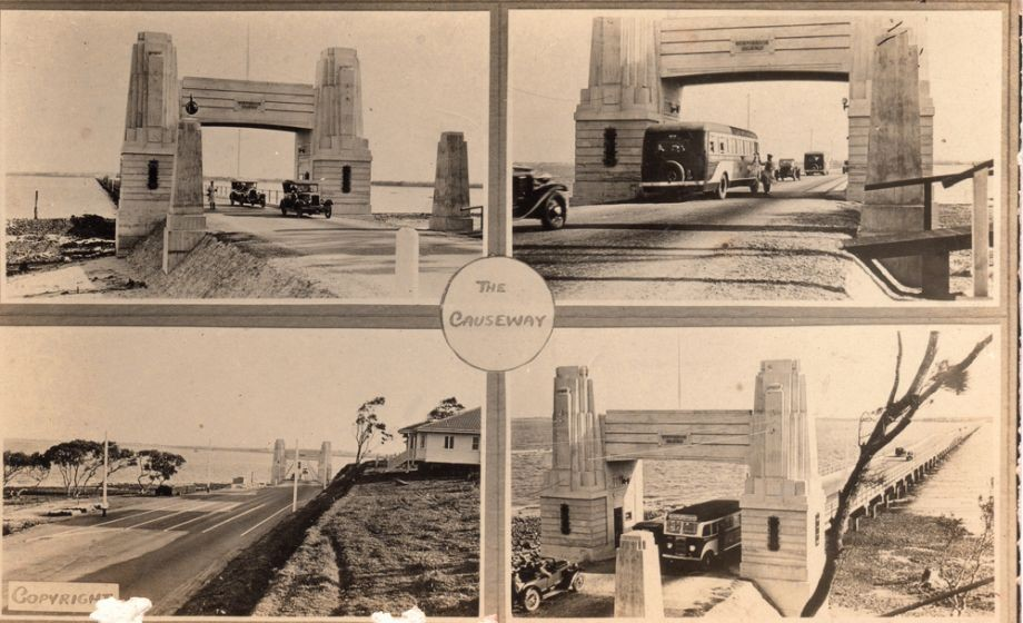 This postcard depicts images of cars and buses as they pay the toll for the Hornibrook Highway Bridge One photo shows the house built for the tollmaster by the company and designed by John Beebe who also designed the portals This house later burnt down but a house nearby owned by Manuel Hornibrook for family use and holidays is still standing on the same site