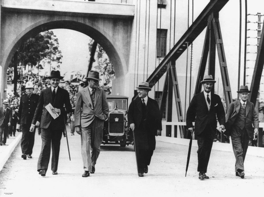 The Queensland legislation that enabled MR to operate a toll bridge was also a catalyst for other enterprising builders to develop toll bridges such as the Walter Taylor Bridge at Indooroopilly This photo shows opening day of the Walter Taylor Bridge on 14 Feb 1936 4 months after the opening of the Hornibrook Highway Manuel Hornibrook is pictured second from the left in the photo and was reported as being the first person to pay the toll on the Bridge