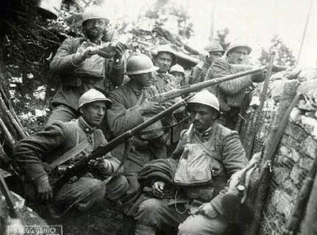 Italian Soldiers in a trench during the First World War