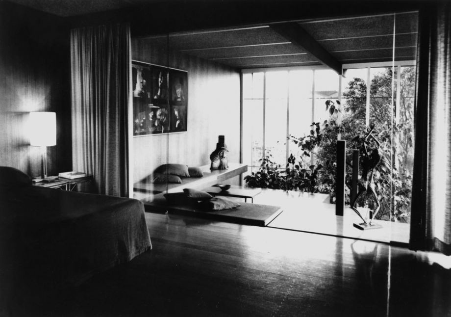 The Johnstone's bedroom at Cintra Road including the very modern screened indoor garden. Artworks by Charles Blackman and Arthur Boyd are on display.